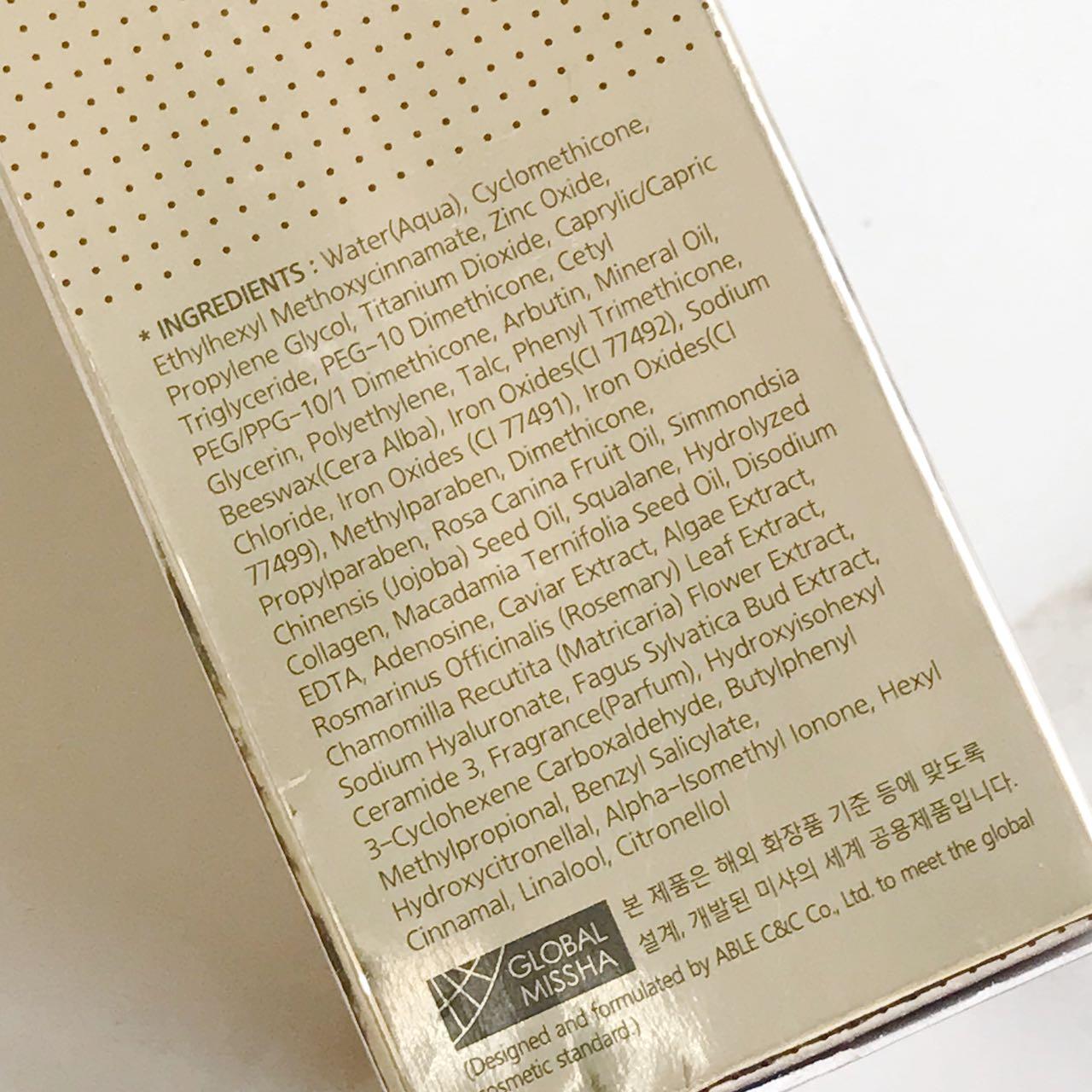 BB Cream da Missha-composicção