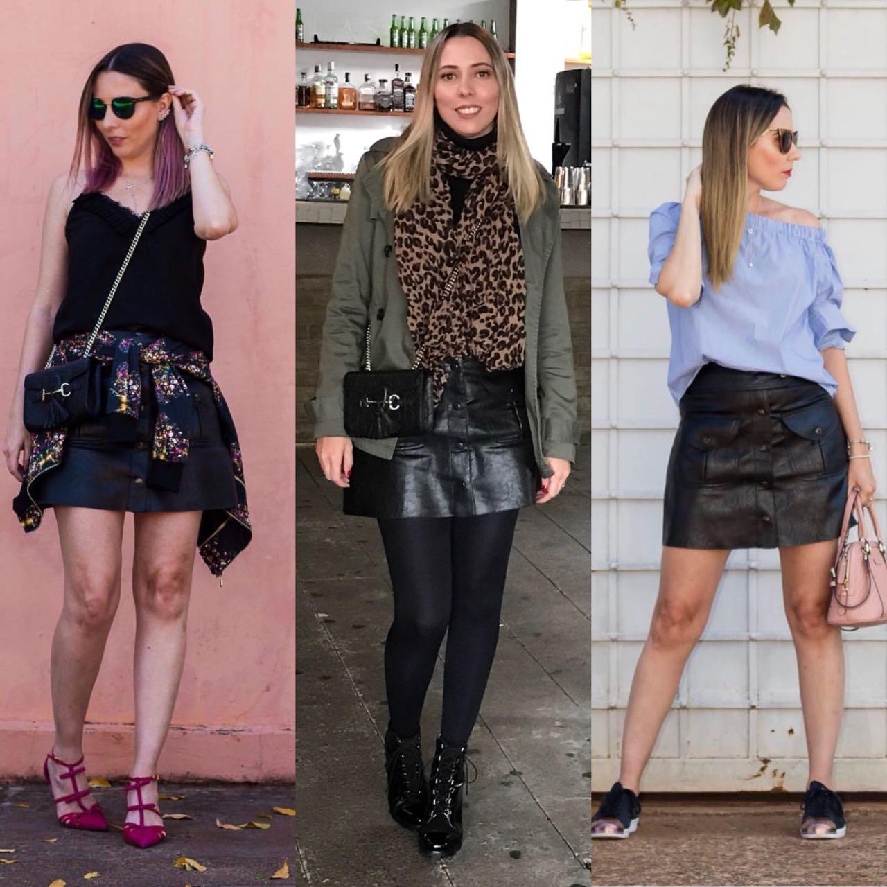 3 looks da Giuli Castro com a mesma saia preta de couro com botões da Zara